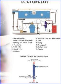 210k BTU Titanium Tube and Shell Heat Exchanger for Saltwater Pools/Spas os
