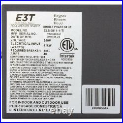 Digital Electric Heater, Raypak E3T, 1-1/2 mpt, 230v, 11kW