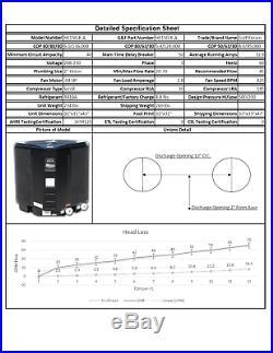 Gulfstream HE125 Swimming Pool Heat Pump, 122,000 BTUs, 6.1 COP Long Warranty