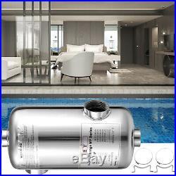 Pool Heat Exchanger Tube Shell Heat Exchanger 95KBTU SS304 1+ 1 1/2FPT