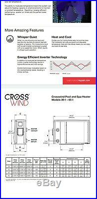 Raypak A Rheem Company Crosswind Pool Spa Heat Pump 65-I 61,000 BTU Heat & Cool