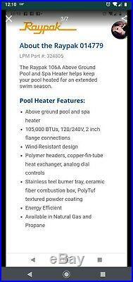 Raypak Spa/Pool Gas Heater