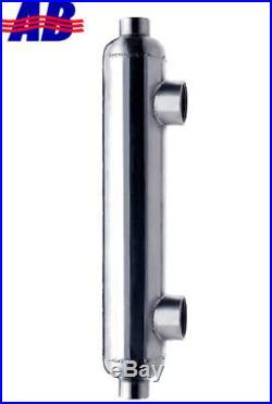Saltwater Shell & Tube Heat Exchanger 300kBtu Titanium Same Side 2+1 1/2FPT