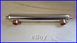 Tube and Shell Heat Exchanger with Same Side Ports for Pools/Spas 85,000 BTU